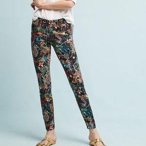 Pilcro & the Letterpress Black Floral Skinny Jeans